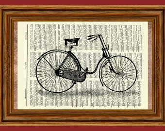 Vintage Bicycle Upcycled Dictionary Vintage Art Print Poster