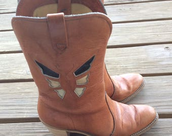 Vintage Acme boots funky butterfly size 7 retro 70s hippie