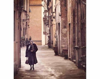 Italy Photography, Cobblestone Street, Village, Brown, Beige, Tuscany, Wall Art, Home Decor - Life in Lucca (vertical-see full image)