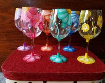 Set of 6 Hand painted flower wine glasses