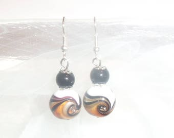 Earrings golden yellow and white Murano beads and black glass beads