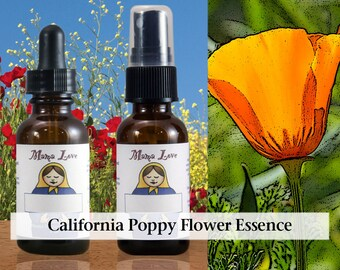 California Poppy Flower Essence, 1 oz Dropper or Spray for Self-Contained Spirituality instead of Addiction to Glamour, Celebrity, Charisma