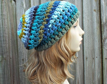 Blue and Green Crochet Hat Womens Hat - One of a Kind Remnant Slouchy Striped Beanie Hat Crochet Hat Winter Accessories - READY TO SHIP