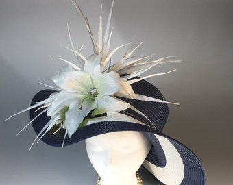 Navy and White Women's Derby Hat, extra wide brim, stunning white lilly