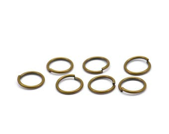 8mm Jump Ring - 100 Antiqued Brass Jump Rings (8x0.85mm) A0334