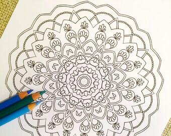 """Mandala """"Rajastan"""" - Hand Drawn Adult Coloring Page Print"""