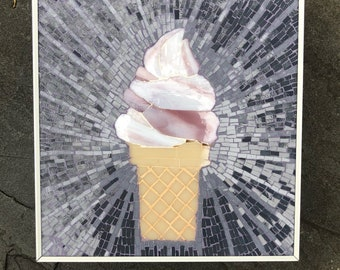 Ice cream cone stained glass mosaic wall art