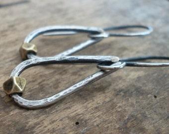 Cosset Earrings - Handmade. Brass. Oxidized, Hammered Sterling Silver Dangle Earrings