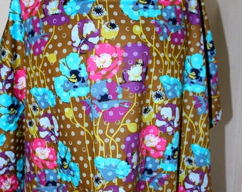 Floral with polka dots cotton fabric
