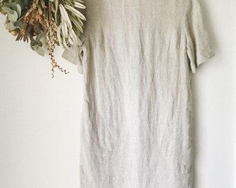 Minimalist Oatmeal Linen Dress