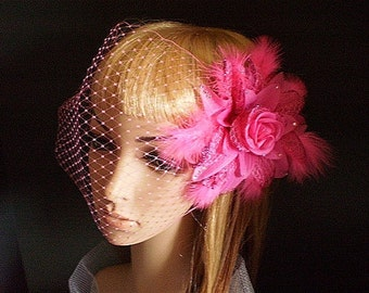 Flower Fascinator Pink-Pink Flower Birdcage Veil With Crystals,Feathers