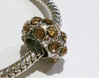 5 charm's silver and Brown (56 (A) rhinestone European bead