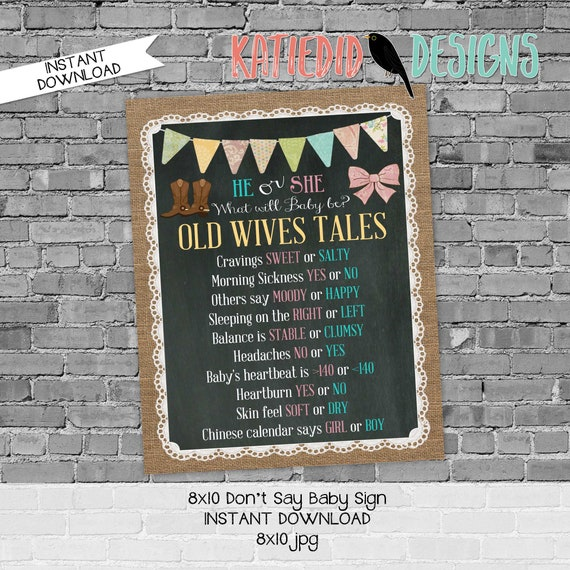 Old wives tales sign boots or bows gender reveal invitation couples baby shower party game burlap lace chalkboard | 1410 Katiedid designs