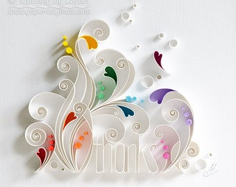 Quilling wall paper art - Thanks