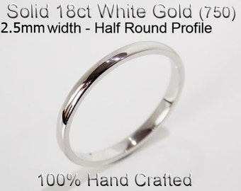 18ct 750 Solid White Gold Ring Wedding Engagement Friendship Half Round Band 2.5mm