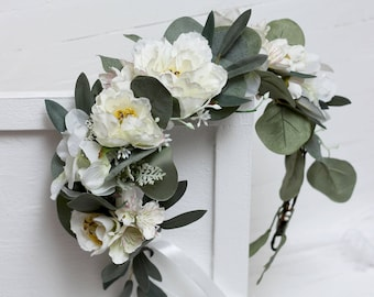 White flowers eucalyptus flower crown Wedding hair wreath Bridal headpiece Outdoor Peony Boho Bridesmaid floral crown Leaves headband