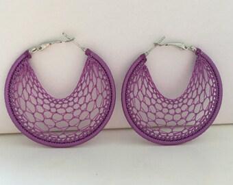 """Crochet hoops 2"""" in Purple"""