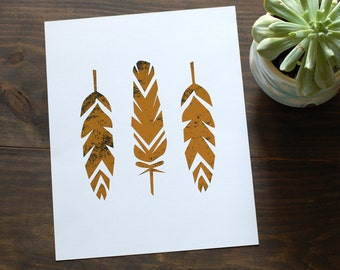 Geo Feathers Distressed Gold Foil Print // 8x10 Weather Gold Leaves Print //