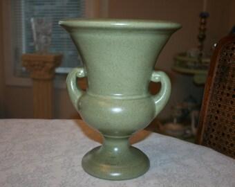 Vintage Haeger Pottery Urn Green Vase Planter