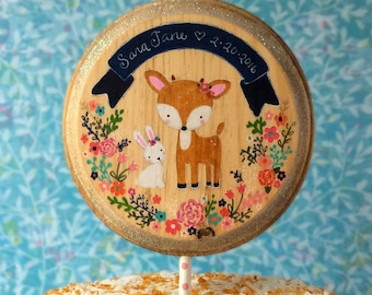 Woodland Cake Topper,Bunny Cake Topper,Baby's 1st Birthday,Baby Shower,Rustic Cake Topper,Wooden Cake Topper,Deer Cake Topper,Fawn,Birthday