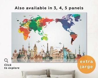 Rainbow world map etsy australia centered world map watercolor world map world map print world map wall art australia world map canvas colourful world map rainbow gumiabroncs Image collections