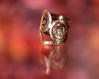 Spiral Hammered Copper Wire Adjustable Ring Twin Spirals Thumb Ring Copper Jewelry Tribal Boho Rustic Sacred Geometry Size 9+