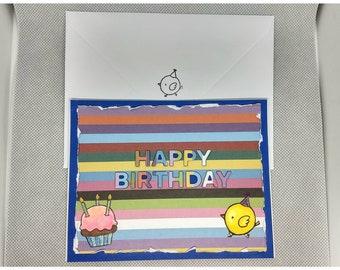 Chicks & Stripes Birthday Card