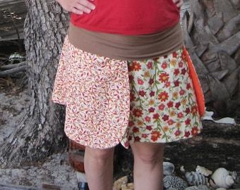 Orange réversible fleur jupe - personnalisé-