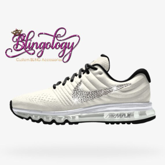 Womens Nike Air Max 2017 iD White Black Custom Bling Crystal f1887ab5a8