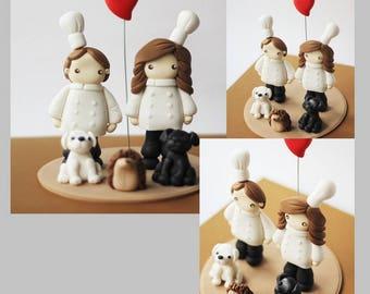 Wedding cake topper set - wedding chef cake topper - Chef cake topper - Fondant hedgehog - chef cake topper