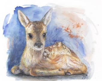 Fawn Painting, New Dawn, baby Deer, Giclee Print, Watercolour, coloured pencil, artwork, fantasy art, Magical