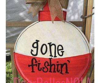 Gone Fishing Bobber, Wooden Door Hanger