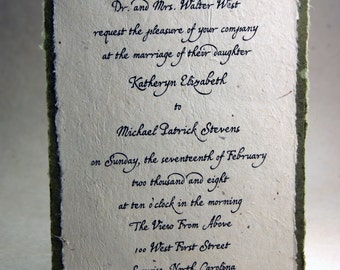 Aspen Green Seed Paper Invitation custom printed in black ink with vegetable dyed torn edge backing
