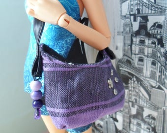 BJD MSD shoulder bag fabric with rivets purple black Dolls 42cm Minifee double and larger sd