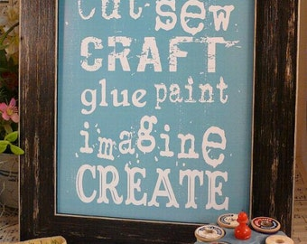 Cut Sew Craft Glue digital sign PDF - Paint Imagine Create blue