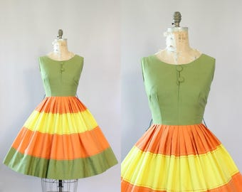 Vintage 50s Dress/ 1950s Cotton Dress/ Olive Green, Orange and Yellow Striped Cotton Dress w/ Full Skirt L