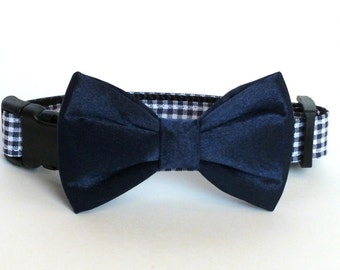 Navy Mini Checks with Navy Satin Bow Tie Dog Collar Bow Tie set, pet photography