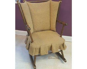 Antique Rocking Chair, Antique Rocker, Burlap Furniture, Vintage Rocking Chair, Burlap Chair, Miniature Rocking Chair, Wood Rocking Chair
