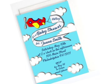AIRPLANE BABY SHOWER- Airplane Baby Invitation, Customized Printable or Printed Invitation