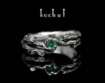 "Silver twig ring, silver branch ring, twig emerald ring. Silver nature ring from Kochut ""Twig"" collection."