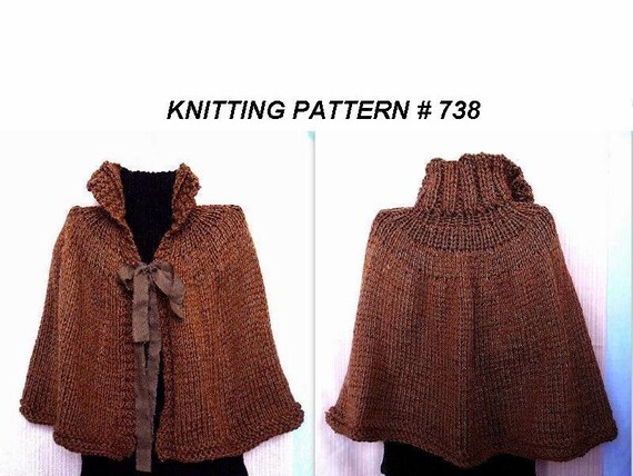 Knitting Pattern Cape Poncho Shawl Wrap Beginner Level