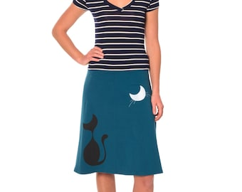 Plus size skirts, Whimsical gift for women,  for cat lovers, Midi jersey skirt plus size, Cotton skirts for women - Our cat and the moon