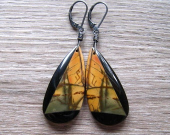 Picasso Jasper and Black Obsidian Earrings, Natural Stone Long Dangle Earrings, Jasper Jewelry, Oxidized Sterling Silver, Black And Gold
