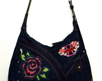 Blue Denim Shoulder Bag  Embroidered Lady Biker Motorcycle Hobo Handbag with Exterior Pockets  Roses Motorbiker Bag Original Design OOAK