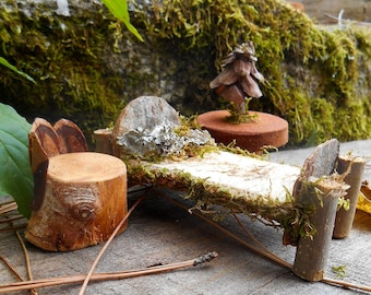 Exceptional Fairy Furniture Set, Bed, Chair, Table, Natural Materials, Miniature Fairy  House