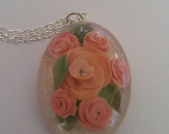Multi Rose Resin Pendant Necklace