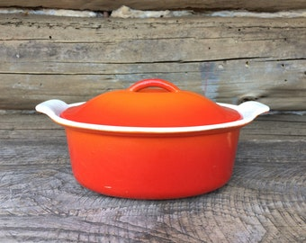 Vintage Orange Descoware Belgium 1 1/2 Qt. Dutch Oven