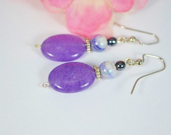 FREE SHIPPING, purple jade earrings, jade earrings, purple earrings, purple dangle earrings, purple drop earrings, purple gem stone earrings