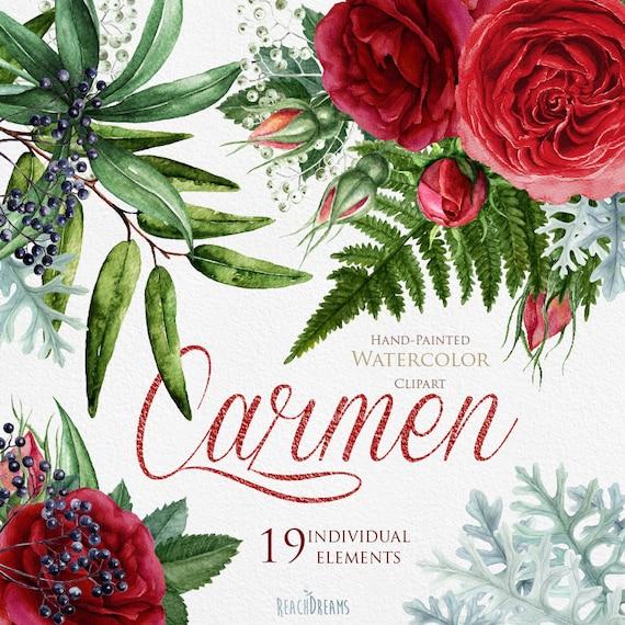 Wedding Watercolor Flowers, English Roses, Brunia, Fern