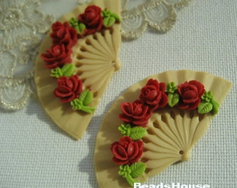 2 pcs So Beautiful Classic Rose Fan Cabochon With Hold,32 x 60 mm,True Red Rose( BH349)